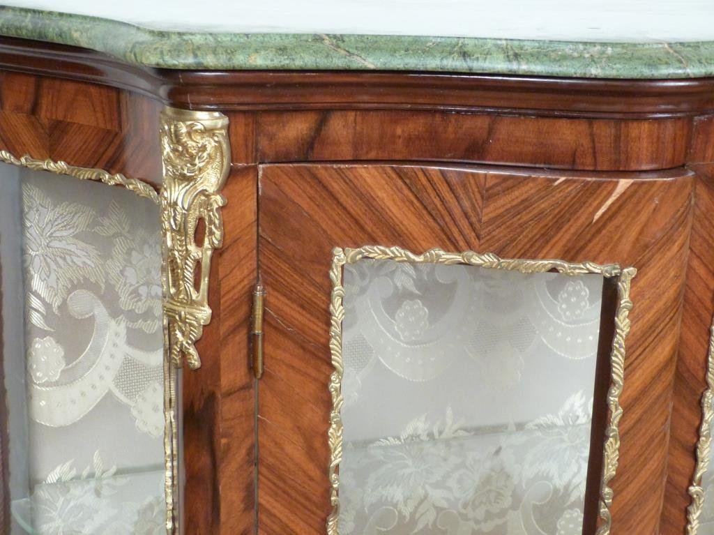 French Style Marble Top Vitrine Cabinet - 5