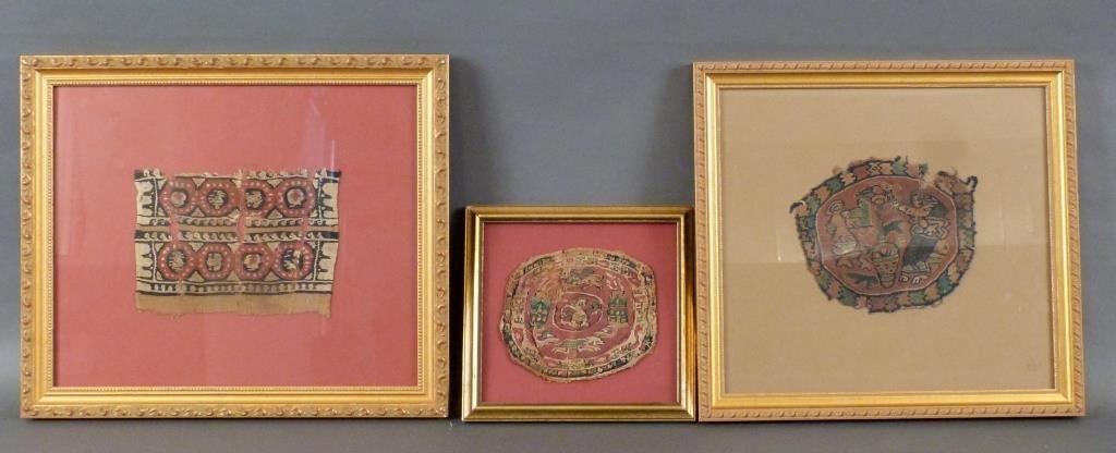 3 Framed Coptic Textile Fragments