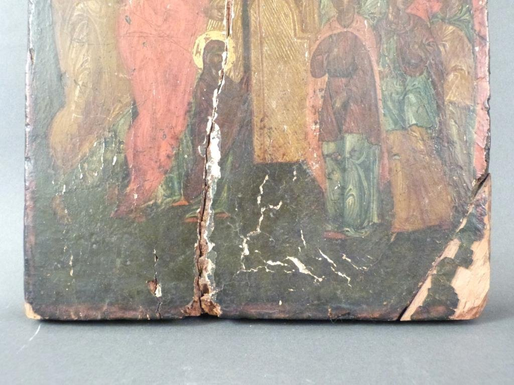 Antique Greek Painted Icon (As Is) - 4