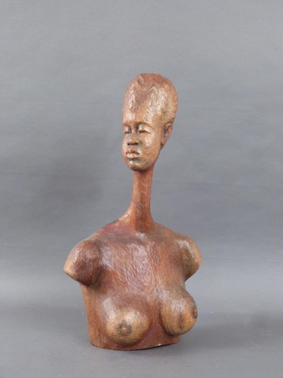 Signed African Bust of Nude Female