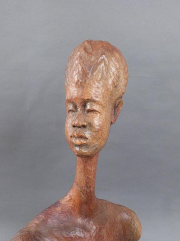 Signed African Bust of Nude Female - 3