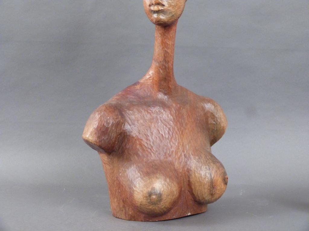 Signed African Bust of Nude Female - 4