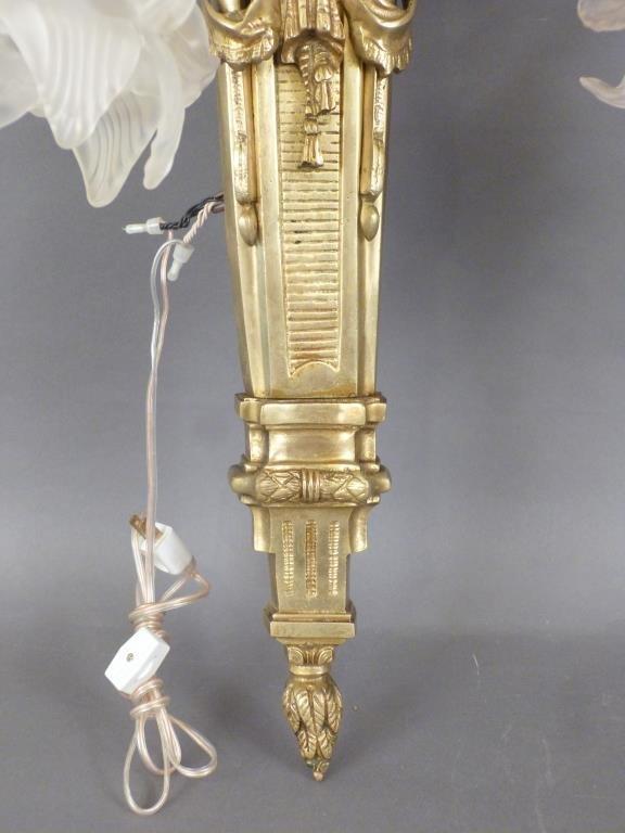 Pair Large Bronze 5 Arm Sconces - 4