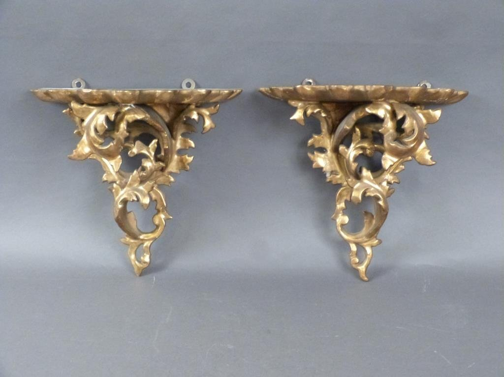 Pair Gilt Carved Rococo Brackets