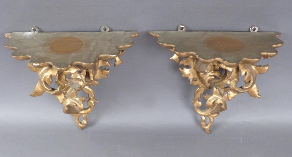 Pair Gilt Carved Rococo Brackets - 4