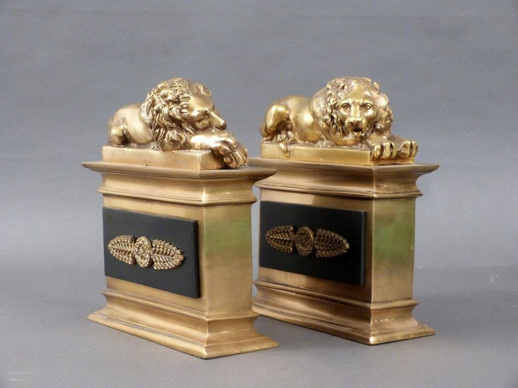 Pair Heavy Brass and Metal Bookends