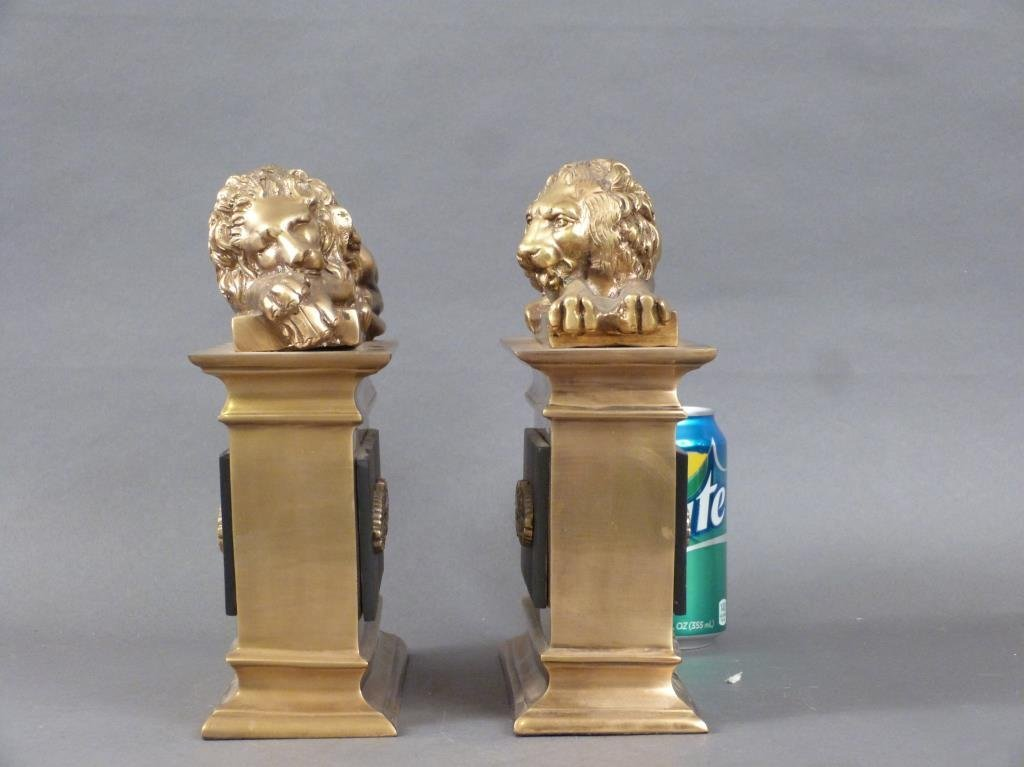 Pair Heavy Brass and Metal Bookends - 2