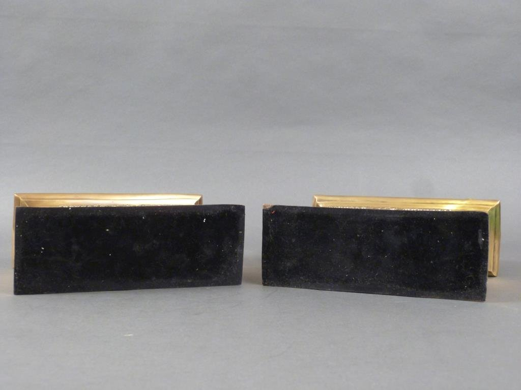 Pair Heavy Brass and Metal Bookends - 6