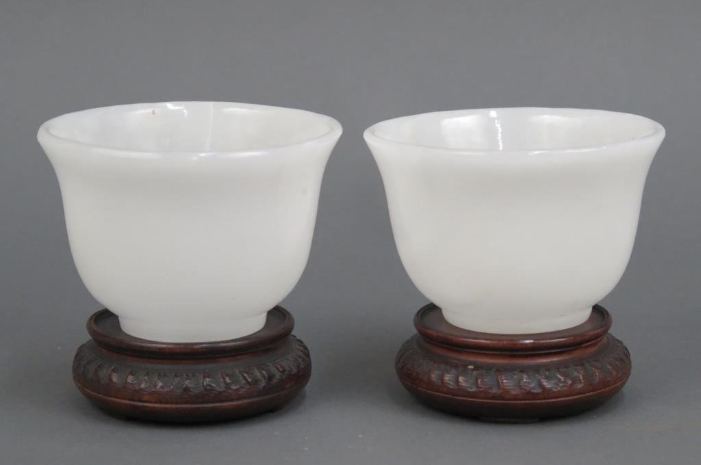 Pair White Stone Bowls