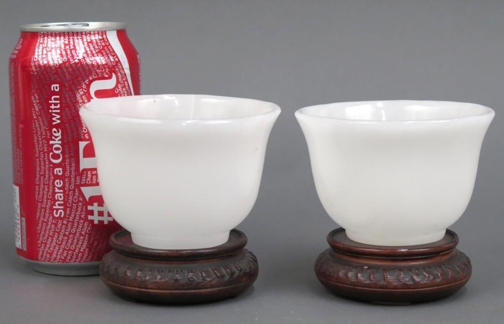 Pair White Stone Bowls - 2