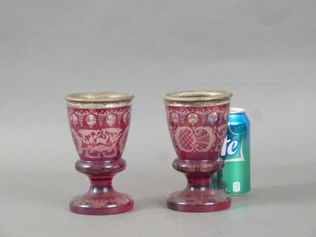 Pair Silver Mounted Bohemian Glass Goblets - 2
