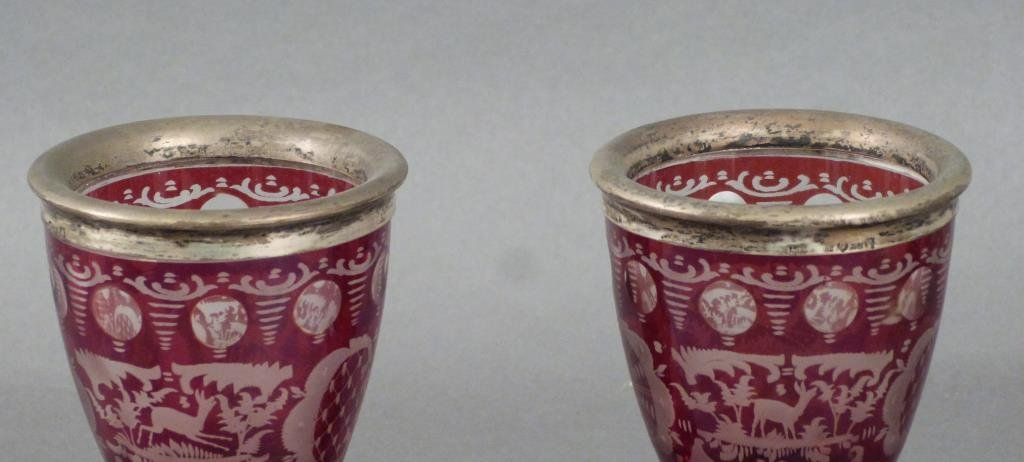 Pair Silver Mounted Bohemian Glass Goblets - 4