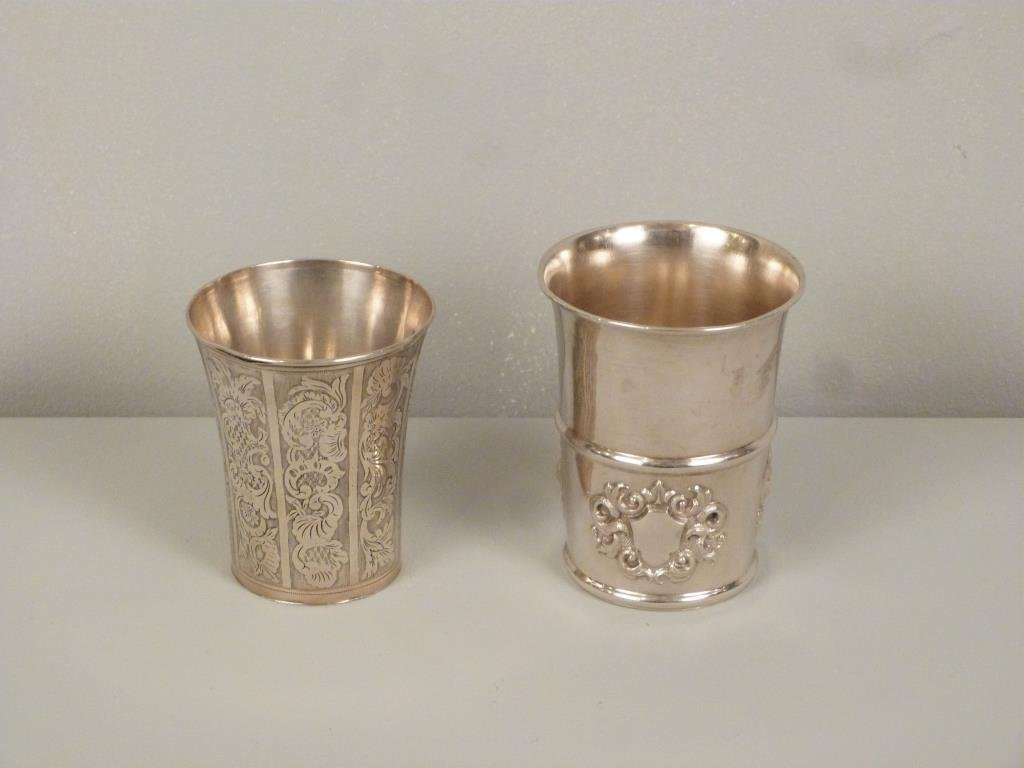 2 Continental Silver Beakers