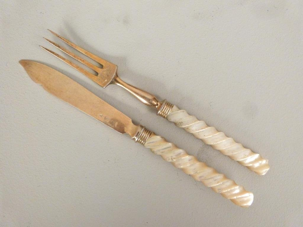 2 Mother of Pearl Handle Fish Sets - 4