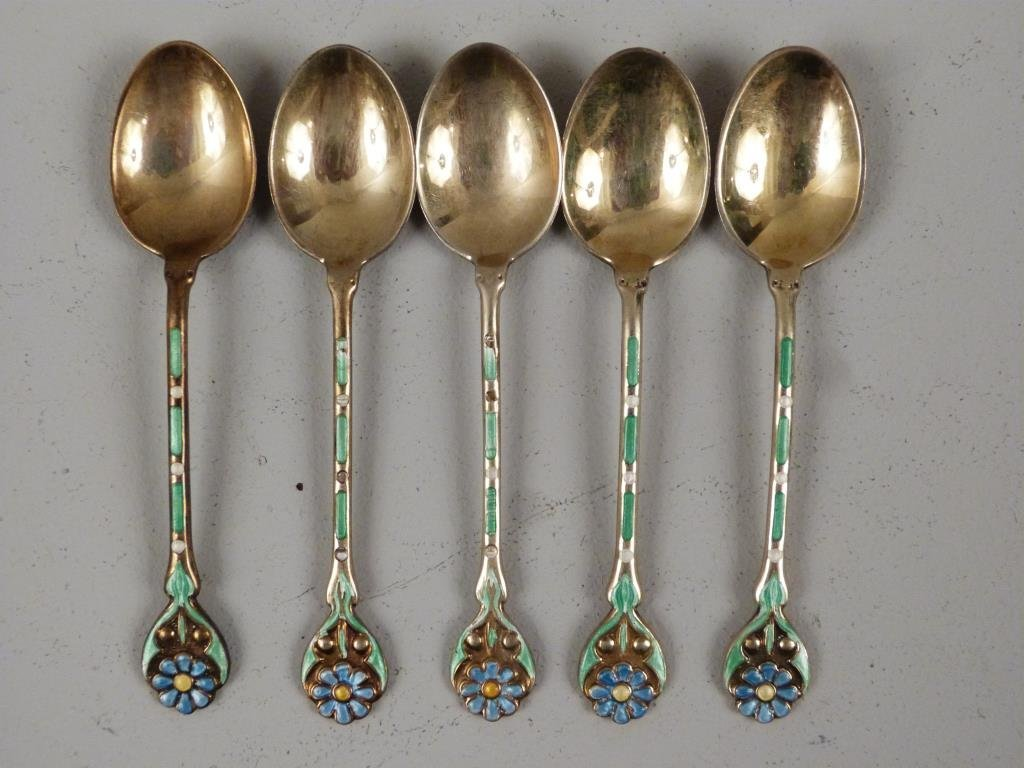Set of 5 English Silver Enamel Spoons