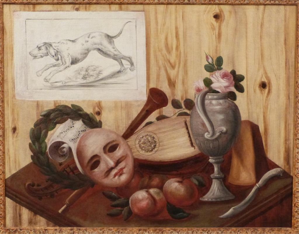 Italian School Oil on Canvas - Trompe L'Oeil