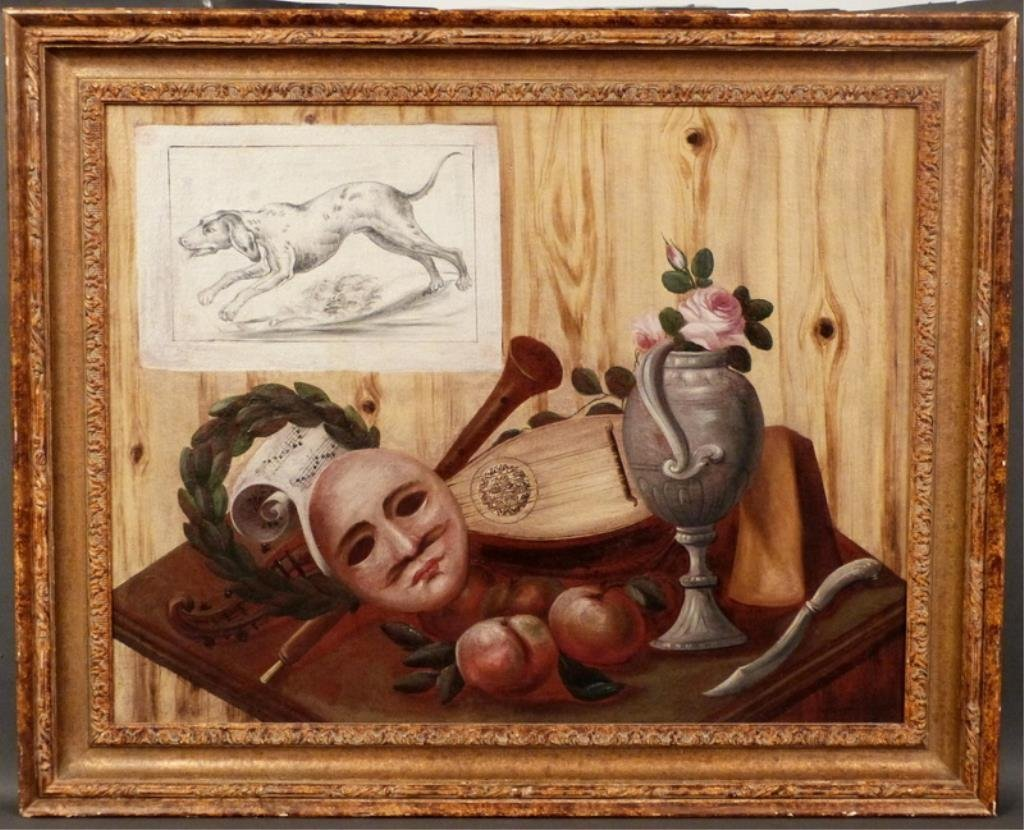 Italian School Oil on Canvas - Trompe L'Oeil - 2