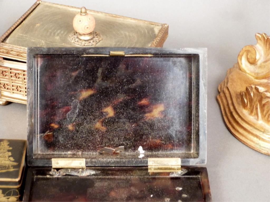 Assorted Lot (7) - Tortoise Shell, Gilt Wood, Etc - 4