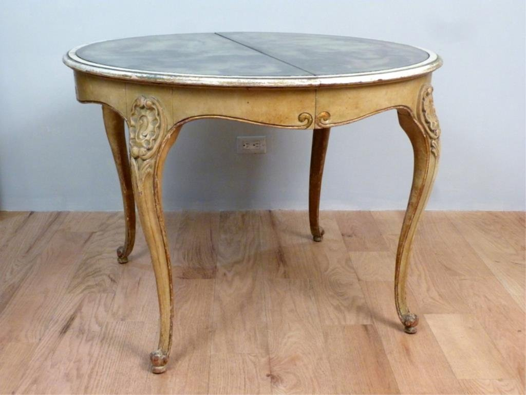 Hollywood Regency Mirror Top Dining Table