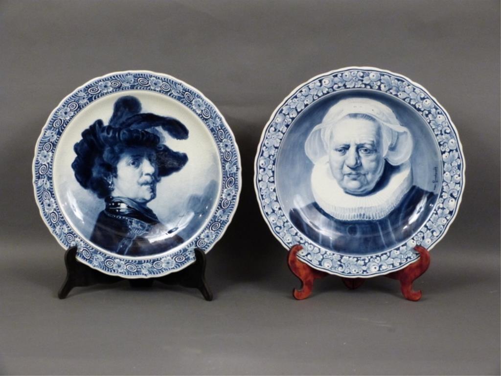 2 Delft Rembrandt Portrait Chargers