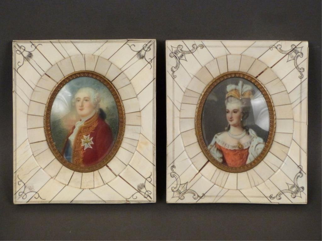 Pair Bone Framed Miniature Portraits