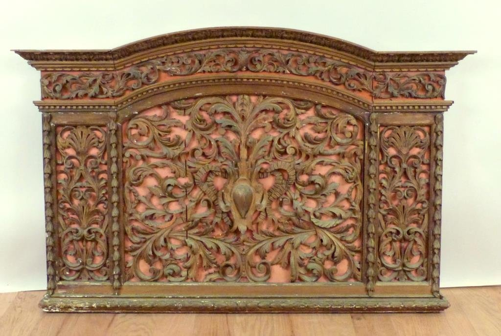 Antique English Carved Panel / Headboard