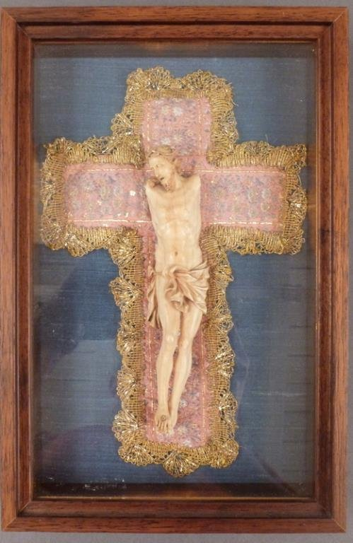 Vintage Faux Ivory Framed Christ Figure