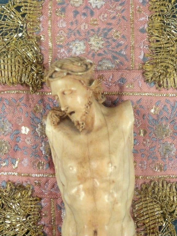 Vintage Faux Ivory Framed Christ Figure - 3