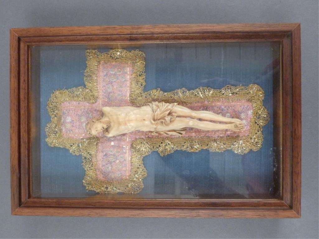 Vintage Faux Ivory Framed Christ Figure - 5