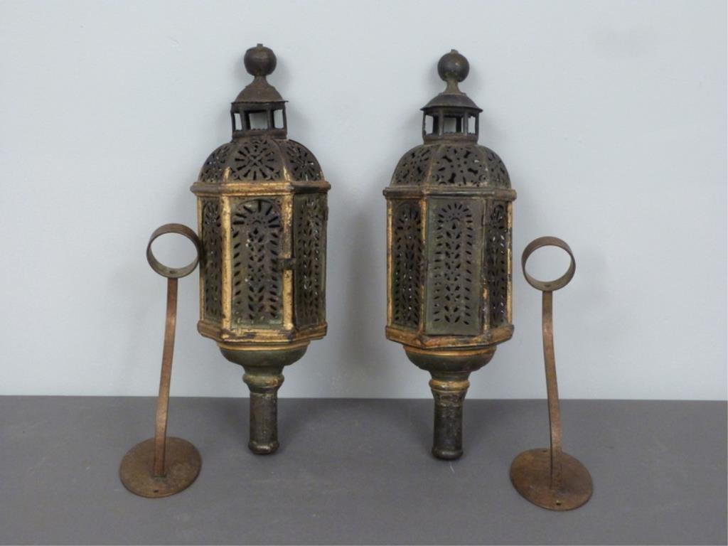 Pair Vintage Tole Candle Lanterns