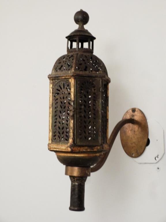 Pair Vintage Tole Candle Lanterns - 2