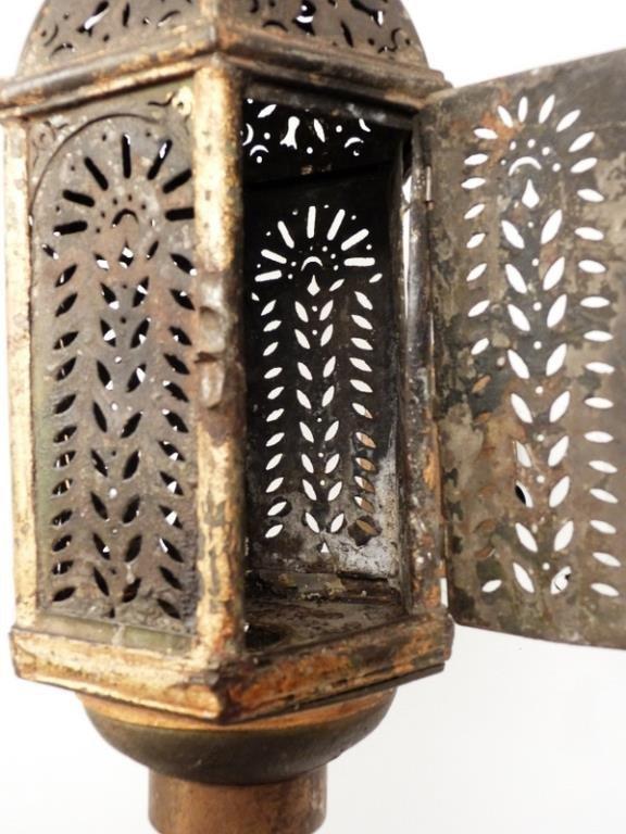 Pair Vintage Tole Candle Lanterns - 3