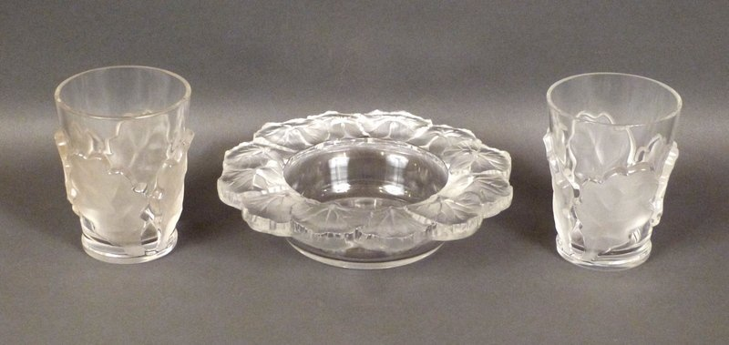 3 Lalique Frosted Glass Articles