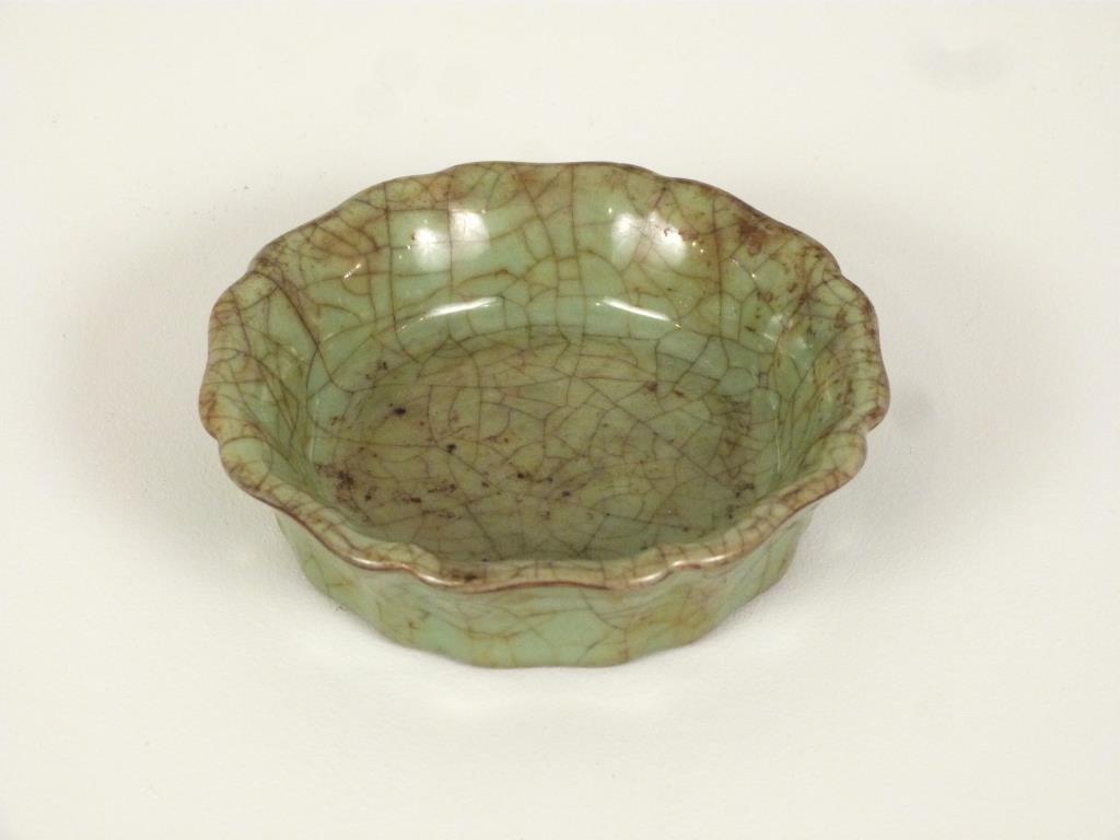 Chinese Celadon Scalloped Dish