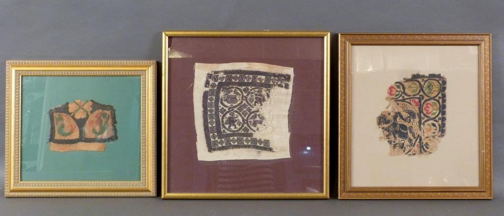 3 Framed Coptic Textile Fragments