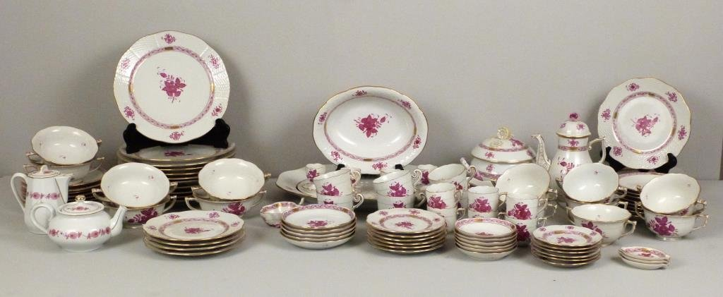Large Herend Porcelain Dinner Set