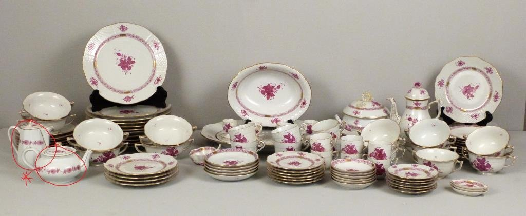 Large Herend Porcelain Dinner Set - 2