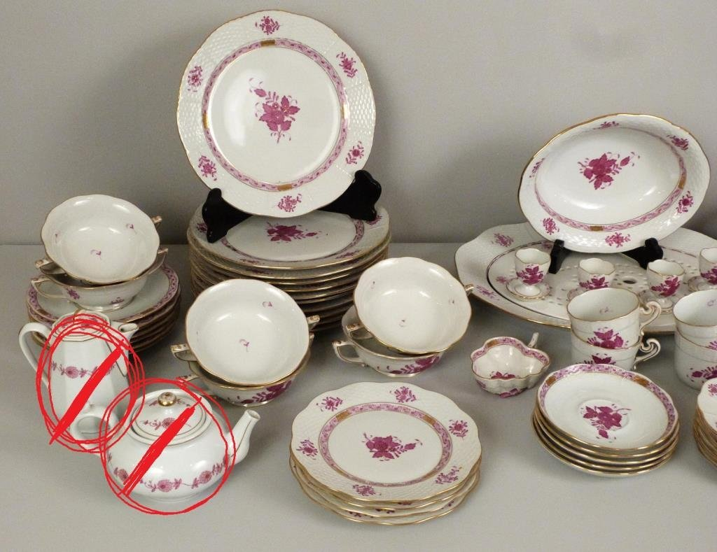 Large Herend Porcelain Dinner Set - 3