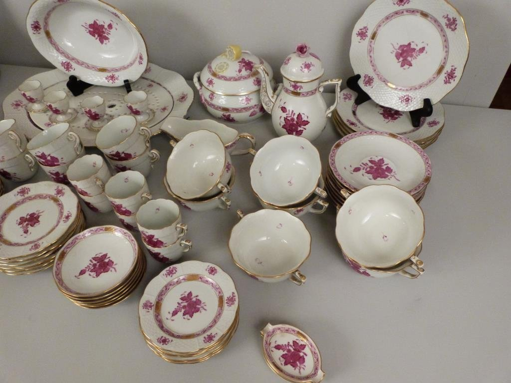 Large Herend Porcelain Dinner Set - 7