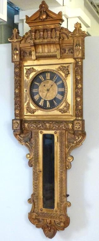 Neoclassical Gilt Framed Wall Clock - 2