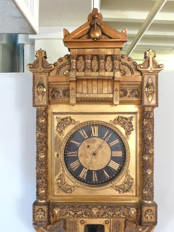Neoclassical Gilt Framed Wall Clock - 3