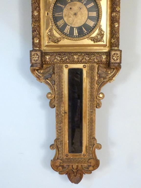 Neoclassical Gilt Framed Wall Clock - 4