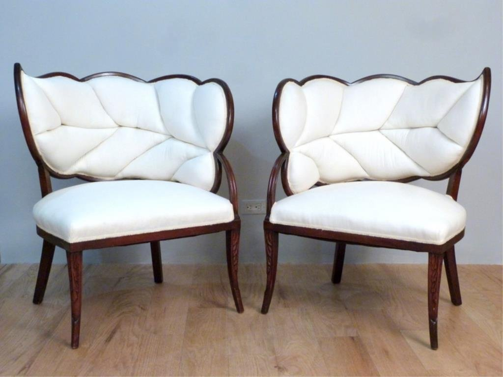 Pair Art Deco Leaf Back Armchairs