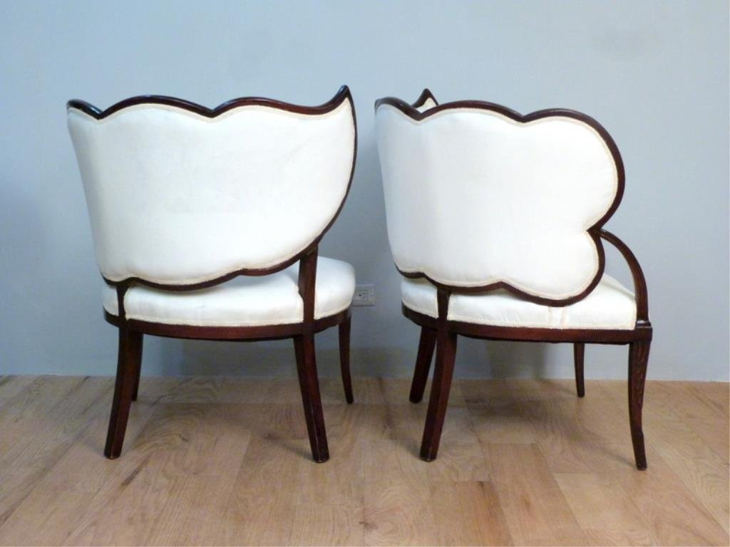Pair Art Deco Leaf Back Armchairs - 2