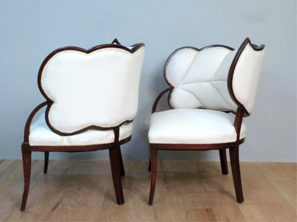 Pair Art Deco Leaf Back Armchairs - 3
