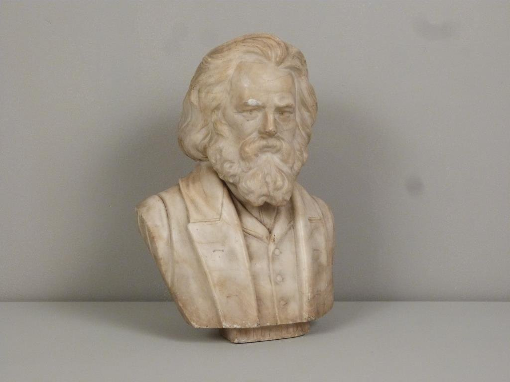Carved Marble Bust of Longfellow