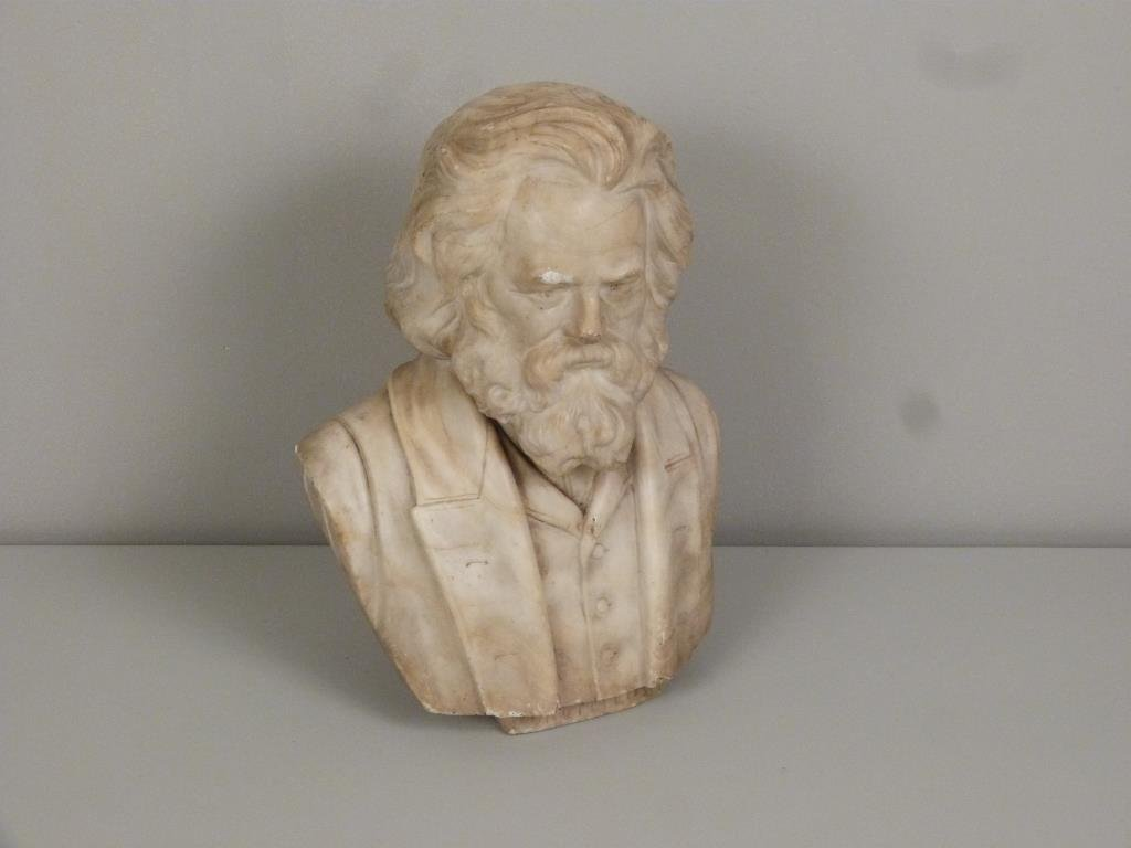 Carved Marble Bust of Longfellow - 2
