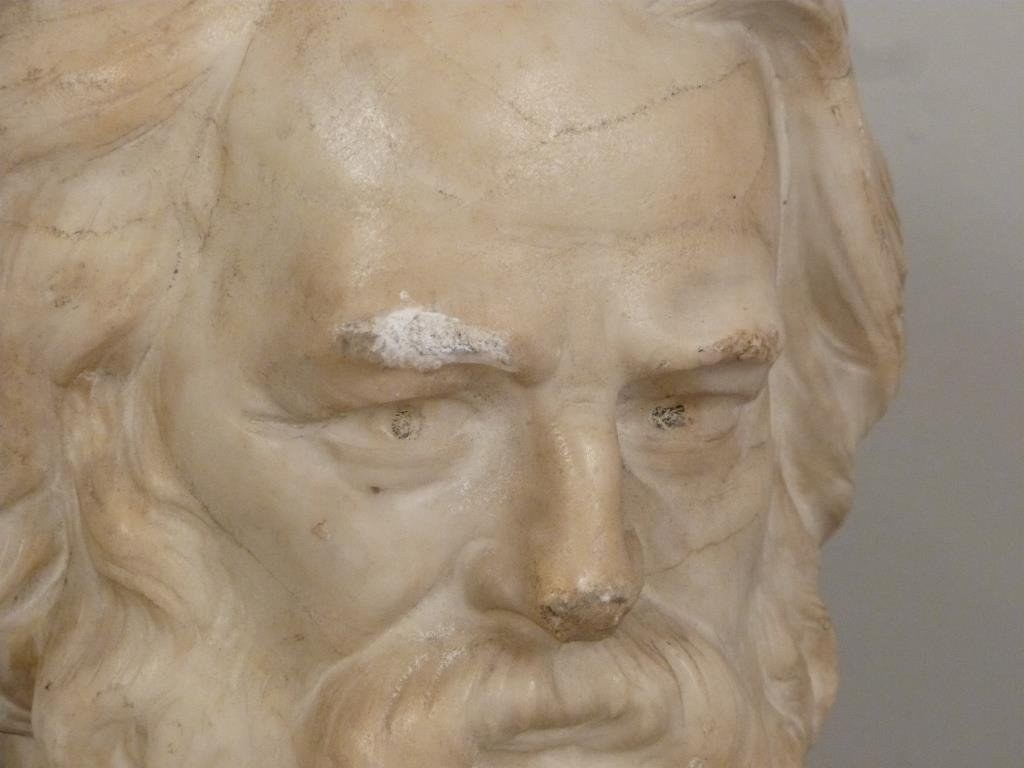 Carved Marble Bust of Longfellow - 3