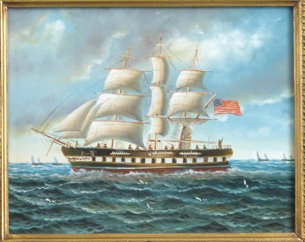 Decorative Oil on Board - Schooner