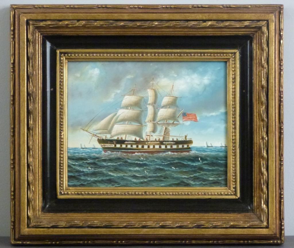 Decorative Oil on Board - Schooner - 2